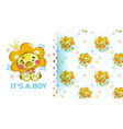cute baplush lion with pattern vector image vector image