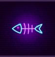 dead fish neon sign vector image vector image