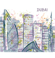 dubai abstract cityscape with watercolor splashes vector image