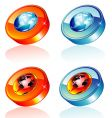 earth button vector image vector image