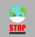 earth with virus protection mask coronavirus 2019 vector image vector image