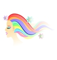 Fantasy girl with bright colorful airy hair and vector image vector image