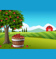 farm landscape background vector image