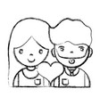 figure couple with beauty relation ships and heart vector image vector image