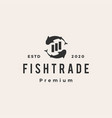 fish trade hipster vintage logo icon vector image vector image