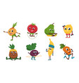 fruits fitness vegetables cartoon characters vector image vector image