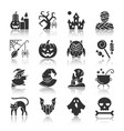 halloween black silhouette reflection icon set vector image