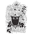 halloween owl hand lettering banner and ornaments vector image