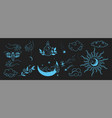 hand drawn set of celestial bodies and mystic vector image
