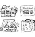 Hand-drawn suitcase sketches set vector image vector image
