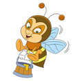 happy bee with honey vector image vector image
