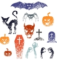 Happy Halloween symbols with grunge texture vector image vector image