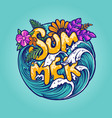 hello summer tropical beach concept vector image