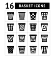Icons set of trash basket vector image vector image