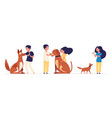 kids and pets children hug pets best friends are vector image