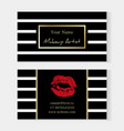 makeup artist stylish business card artistic vector image