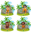 Many cavemen with different weapons vector image vector image