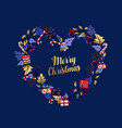 merry christmas love shaped wreath greeting card vector image vector image