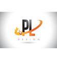 pl p l letter logo with fire flames design and vector image vector image
