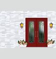 red vintage front door house entrance grey brick vector image vector image