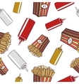 Seamless Pattern Fast Food French Fries vector image