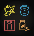 set healthy lifestyle concept neon icons vector image