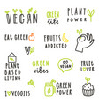 set of vegan text signs vector image vector image