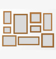 set wooden realistic frames with shadow vector image