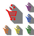 shopping cart icon with a recycle sign set of red vector image
