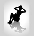 silhouette of a woman figure doing sit up vector image