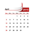 simple calendar 2015 year april month vector image vector image