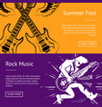 summer fest and rock music collection of banners vector image vector image