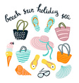 Summer set with beach accessories isolated on the vector image vector image