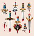 tattoo set daggers vector image vector image