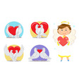 valentines day love symbols and angel or cupid vector image vector image