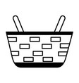 wicker basket on white background vector image vector image