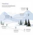 winter ski resort route infographic vector image vector image