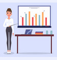 young beautiful businesswoman or top manager bar vector image vector image