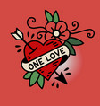 heart one love tattoo vector image