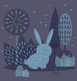winter rabbit in flat style vector image