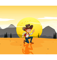 A boy with a hat at the desert vector image vector image