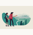 abstract couple standing on mountain top looking vector image vector image