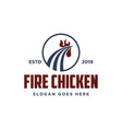 abstract rooster and fire hot fried chicken logo vector image vector image