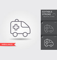 ambulance car line icon with editable stroke with vector image vector image