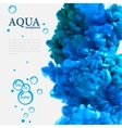 Aqua blue ink in water template with bubbles vector image vector image