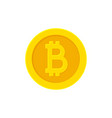 bitcoin golden coin flat icon isolated on white vector image