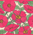 botanical seamless pattern with pink dog roses vector image vector image