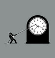 businessman trying to stop the clock from moving vector image