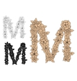 Capital letter M with blooming flowers