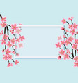 cherry blossom card template with realistic pink vector image vector image